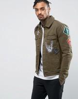 Asos Skinny Denim Jacket with Badges in Khaki