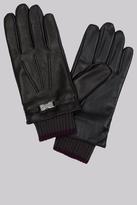 Ted Baker Black Leather Clip Gloves