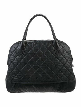Chanel Quilted Expandable Satchel Black