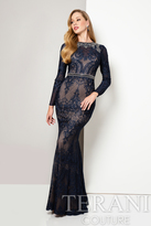 Terani Evening - Fitted Lace Dress with Embroidered Belt 1712E3292