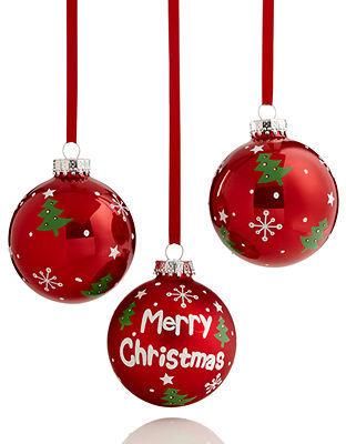 Kurt Adler Set of 3 Merry Christmas Ornaments