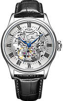 Rotary Gs02940/06 Skeleton Leather Strap Watch, Black/silver