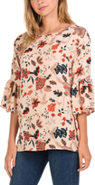 Magic Fit Blush Floral Bell-Sleeve Top