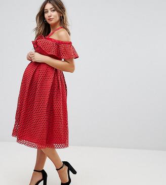 ASOS Lace Cold Shoulder Midi Dress