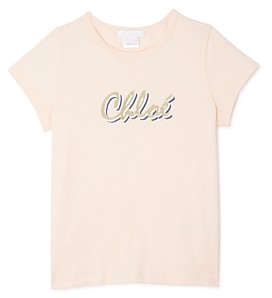 Chloé Girls' Glitter Logo Tee - Little Kid, Big Kid