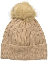 Badgley Mischka Women's Cashmere Blend Ladder Stitch Beanie with Faux Fox Pom
