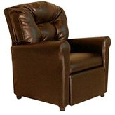 Dozydotes Child Recliner 4 Button Pecan Brown Leather DZD11527