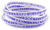 Ice Purple Crystal Bead Cuff White Leather Cord Bracelet