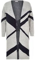 River Island Womens Plus grey print longline cardigan