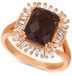 LeVian Le Vian Chocolate Quartz (3-1/10 ct. t.w.) & Diamond (1/3 c.t. t.w.) Ring in 14k Rose Gold (Also available in Pomegranate Garnet & Cinnamon Citrine.)