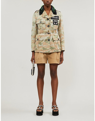 Miu Miu Camouflage-print crystal-embellished cotton jacket