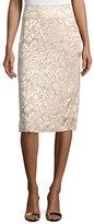 Donna Karan Floral-Embroidered Pencil Skirt, Parchment