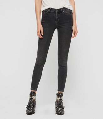 AllSaints Grace Body Shaping Skinny Mid-Rise Jeans, Washed Black