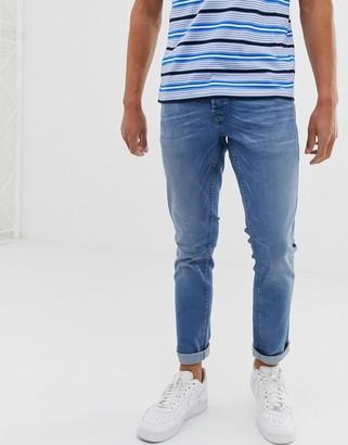 Solid slim fit jean light wash-Blue