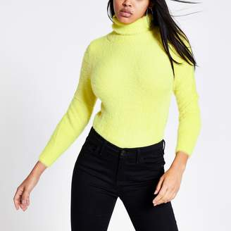 River Island Womens Yellow roll neck fluffy cropped jumper