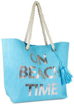 Magid Turquoise 'On Beach Time' Rope-Accent Tote