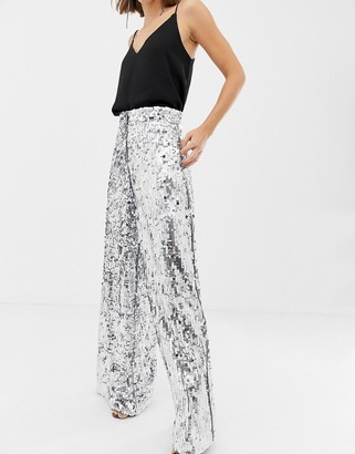 Asos Edition EDITION sequin wide leg flare trouser-Silver