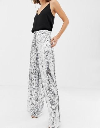 ASOS EDITION sequin wide leg flare trouser