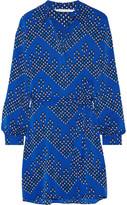 Diane von Furstenberg Seanna Printed Stretch-silk Shirt Dress - Bright blue