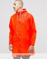 Rains Waterproof Long Jacket In Orange