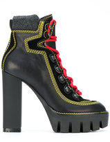 DSQUARED2 lace up platform boots - women - Leather/Wool/rubber - 35
