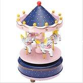 Gina Living Animated Luxury 4 Horse Go Round Musical Swings Carousels Box