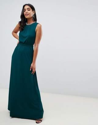 Asos Design DESIGN open back maxi dress with embellished neck trim-Green