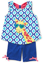 Rare Editions Baby Girls 12-24 Months Giraffe-Appliqued Geometric-Printed Tee & Solid Shorts Set