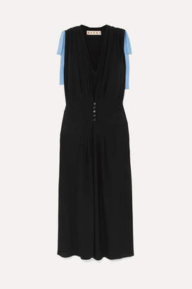 Marni Bow-embellished Two-tone Crepe De Chine Dress - Black