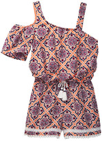 My Michelle mymichelle Printed One-Shoulder Romper (Big Girls)