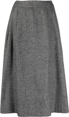 herringbone A-line knit skirt
