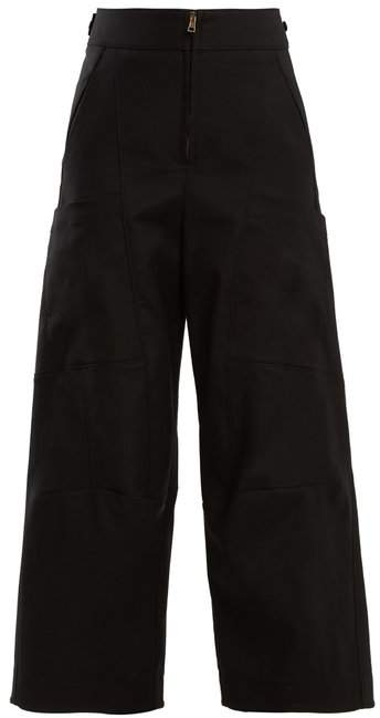 Chloé High Waist Wide Leg Cotton Blend Trousers - Womens - Black