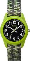 Timex Children's Quartz Watch with Black Dial Analogue Display and Green Nylon Strap TW7C11900