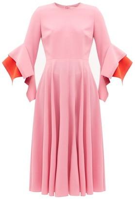 Roksanda Ayres Draped-cuff Crepe Midi Dress - Womens - Light Pink
