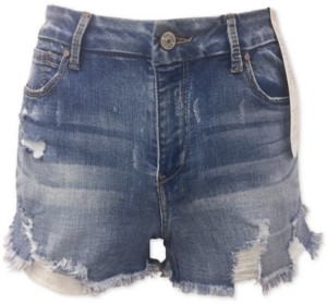 Rewash Juniors' Curvy-Fit Ripped Denim Shorts