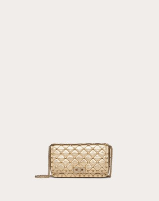 Valentino Small Rockstud Spike Metallic Nappa Chain Bag Women Gold Calfskin 100% OneSize