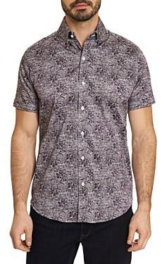 Robert Graham Knox Cotton Stretch Paisley Sponge Print Tailored Fit Button Down Shirt