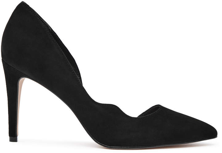 Reiss Bardot Suede Curve-Detail Suede Court Shoes