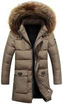 Jinmen Men's Down Jacket Fur Collar Hooded Long Coats