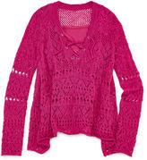 Arizona Long-Sleeve Lace-Up Crochet Top - Girls 7-16