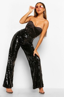 boohoo Shiny Sequin Wide Leg Trousers