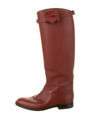 Hermes Jumping Leather Riding Boots Red