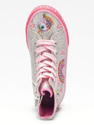 Lelli Kelly Kids Girls Abigail Unicorn Hi Top Plimsolls - Silver Glitter