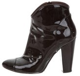 Burberry Patent Leather Cap-Toe Ankle Boots