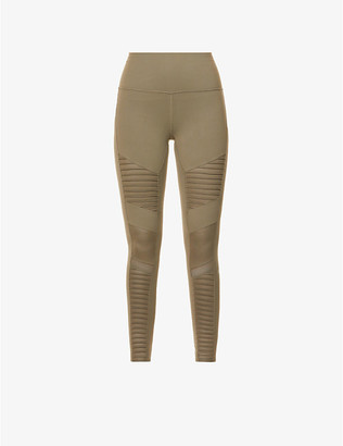 Alo Yoga Moto high-rise stretch-woven leggings