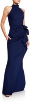 Chiara Boni Side Ruched Halter Gown with Asymmetric Ruffle