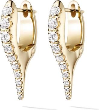 Melissa Kaye 18kt yellow gold and diamond Lola mini needle earrings