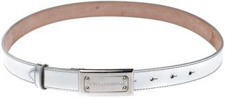 Dolce & Gabbana Metallic Silver Leather Logo Plaque Belt 85CM