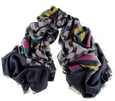 Black Chequerboard Ikat Cashmere Ring Shawl
