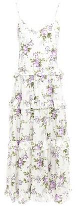 Les Rêveries Tiered Ruffle-trimmed Floral-print Silk-satin Midi Dress